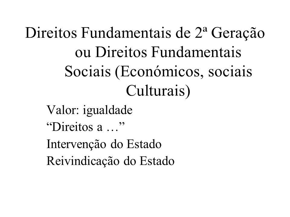 Direitos Fundamentais de 2ª Geração ou Direitos Fundamentais Sociais (Económicos, sociais Culturais) Valor: igualdade Direitos a … Intervenção do Esta