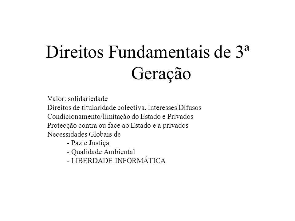 Direitos Fundamentais de 3ª Geração Valor: solidariedade Direitos de titularidade colectiva, Interesses Difusos Condicionamento/limitação do Estado e