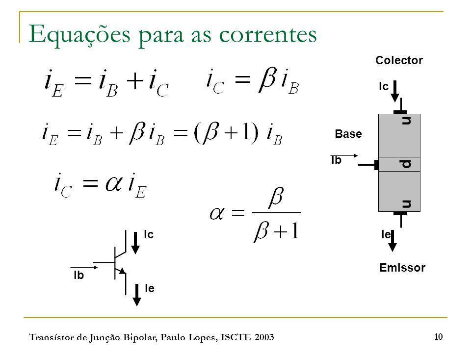 Transístor de Junção Bipolar, Paulo Lopes, ISCTE 2003 10 Equações para as correntes np n Emissor Colector Base Ic Ie Ib Ie Ic