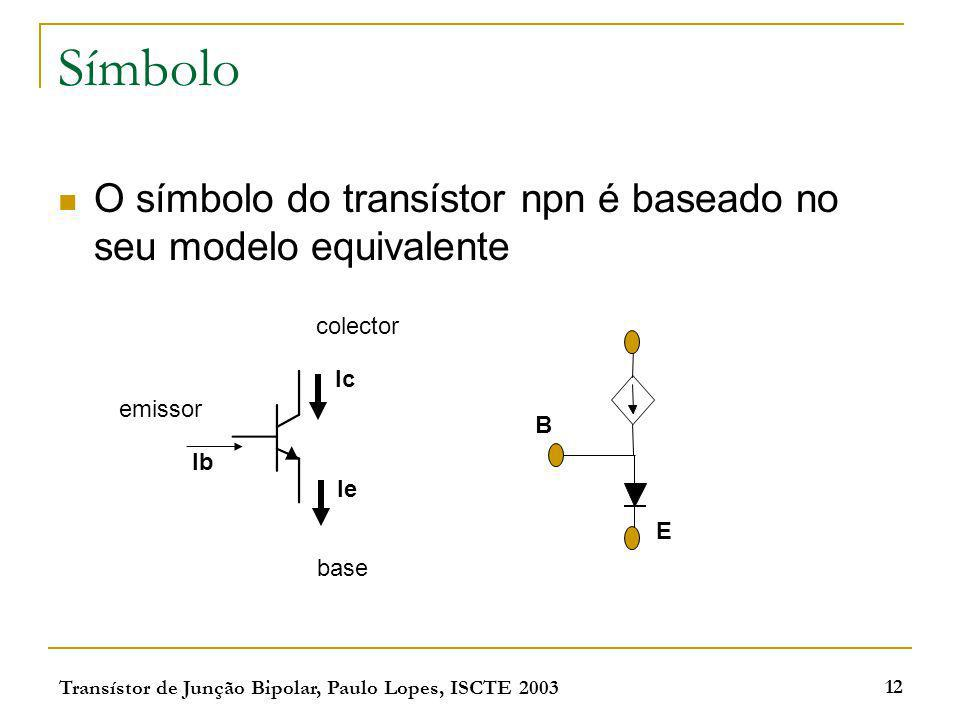 Transístor de Junção Bipolar, Paulo Lopes, ISCTE 2003 12 Símbolo O símbolo do transístor npn é baseado no seu modelo equivalente Ib Ie Ic emissor cole