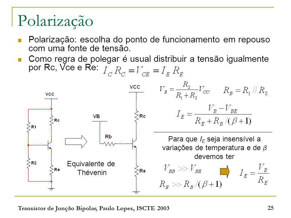 Transístor de Junção Bipolar, Paulo Lopes, ISCTE 2003 25 Polarização Polarização: escolha do ponto de funcionamento em repouso com uma fonte de tensão