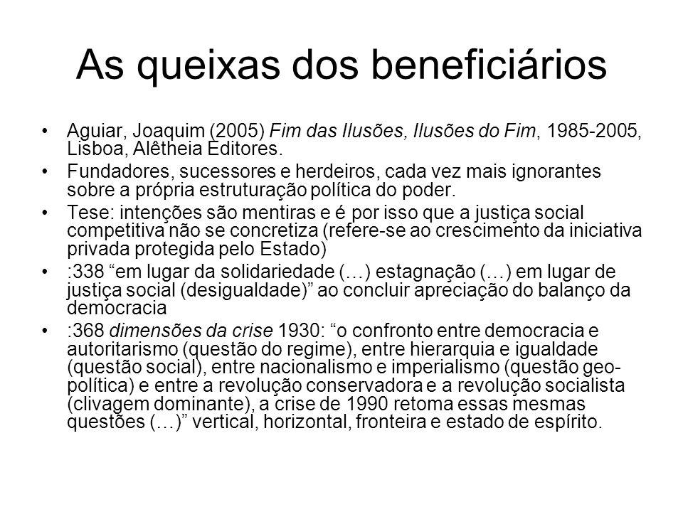 As queixas dos beneficiários Aguiar, Joaquim (2005) Fim das Ilusões, Ilusões do Fim, 1985-2005, Lisboa, Alêtheia Editores. Fundadores, sucessores e he