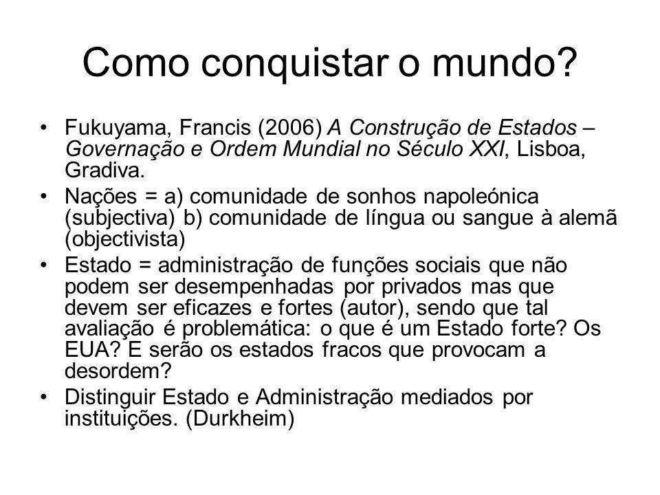 Como conquistar o mundo? Fukuyama, Francis (2006) A Construção de Estados – Governação e Ordem Mundial no Século XXI, Lisboa, Gradiva. Nações = a) com