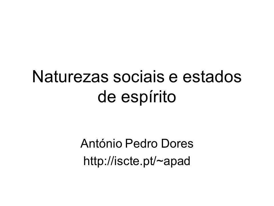 Naturezas sociais e estados de espírito António Pedro Dores http://iscte.pt/~apad