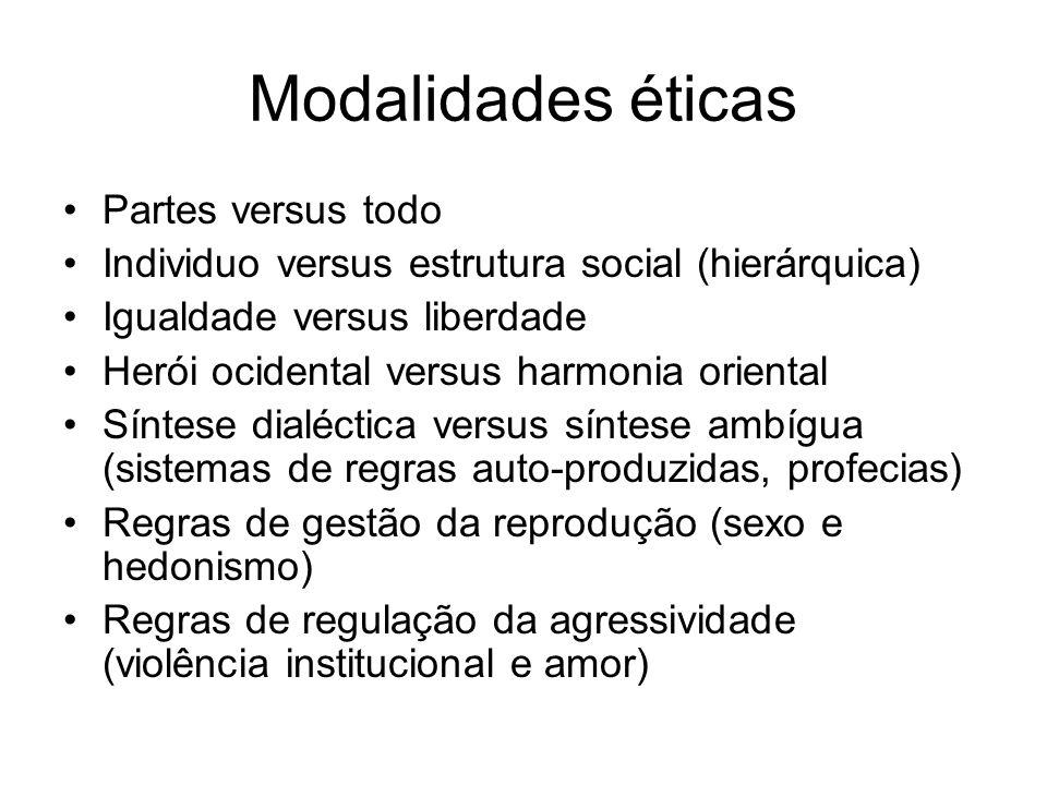 Modalidades éticas Partes versus todo Individuo versus estrutura social (hierárquica) Igualdade versus liberdade Herói ocidental versus harmonia orien