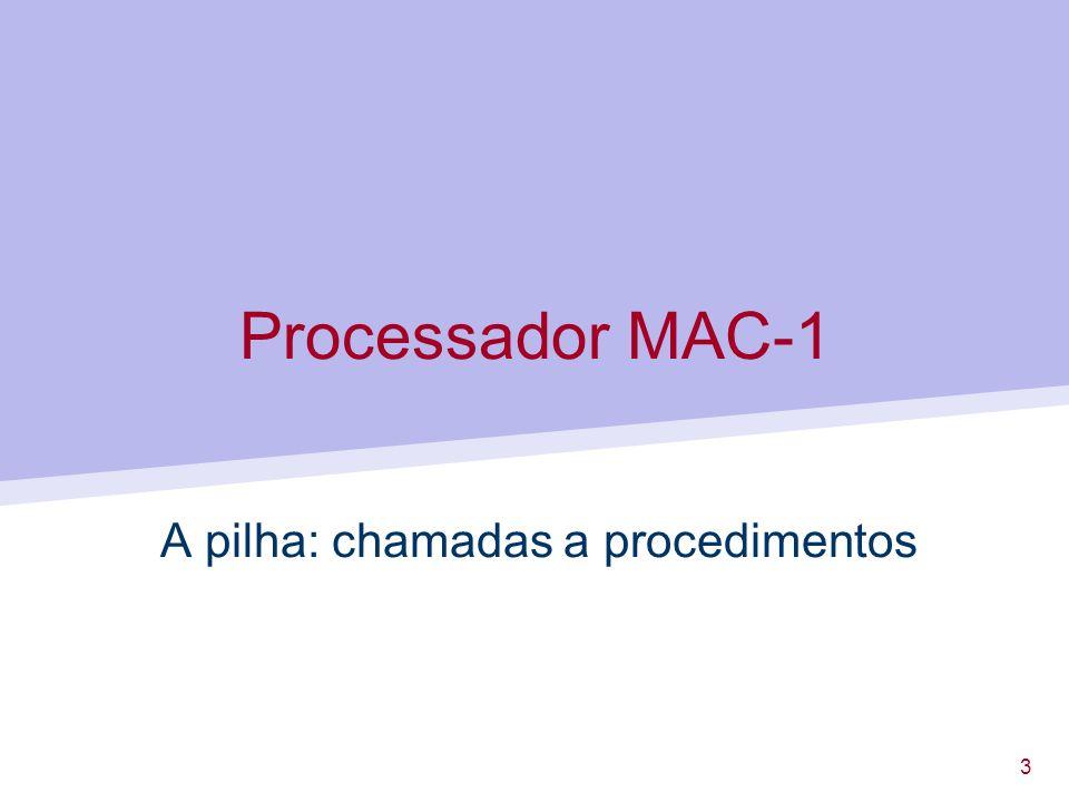 14 Programação MAC-1 Possível solução: usar uma variável local para ir acumulando a soma.
