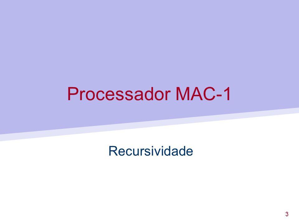 4 Programação MAC-1 Recursividade Existem situações em que uma rotina se invoca a si própria...