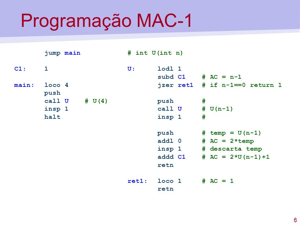 6 Programação MAC-1 # int U(int n) U:lodl 1 subd C1 # AC = n-1 jzer ret1 # if n-1==0 return 1 push # call U # U(n-1) insp 1 # push # temp = U(n-1) add