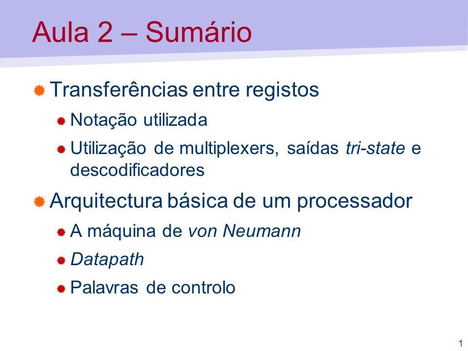 1 Aula 2 – Sumário Transferências entre registos Notação utilizada Utilização de multiplexers, saídas tri-state e descodificadores Arquitectura básica