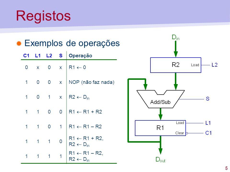 5 Registos Exemplos de operações C1L1L2SOperação 0x0x R1 0 100xNOP (não faz nada) 101x R2 D in 1100 R1 R1 + R2 1101 R1 R1 – R2 1110 R1 R1 + R2, R2 D i
