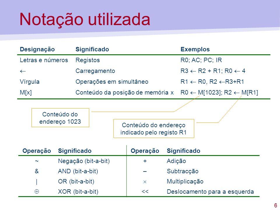 6 Notação utilizada DesignaçãoSignificadoExemplos Letras e númerosRegistosR0; AC; PC; IR Carregamento R3 R2 + R1; R0 4 VírgulaOperações em simultâneo
