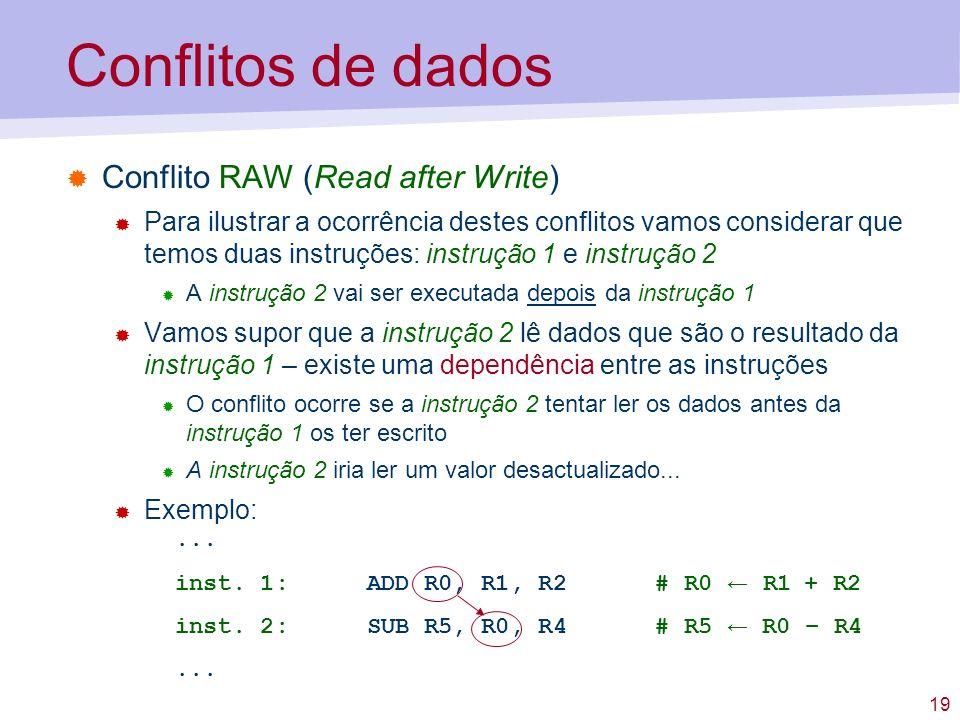 19 Conflitos de dados Conflito RAW (Read after Write) Para ilustrar a ocorrência destes conflitos vamos considerar que temos duas instruções: instruçã