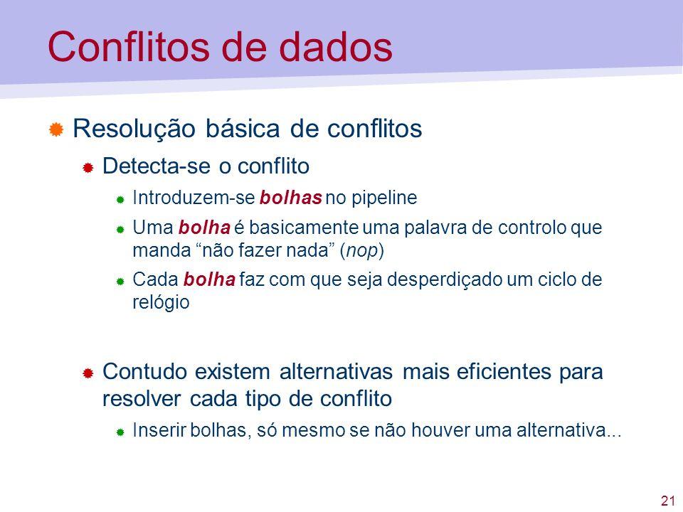 21 Conflitos de dados Resolução básica de conflitos Detecta-se o conflito Introduzem-se bolhas no pipeline Uma bolha é basicamente uma palavra de cont