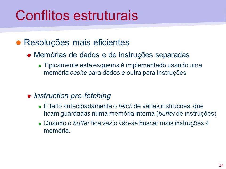 34 Conflitos estruturais Resoluções mais eficientes Memórias de dados e de instruções separadas Tipicamente este esquema é implementado usando uma mem
