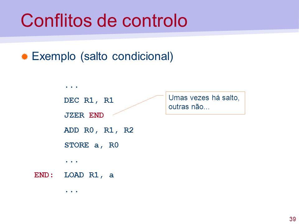 39 Conflitos de controlo Exemplo (salto condicional)... DEC R1, R1 JZER END ADD R0, R1, R2 STORE a, R0... END: LOAD R1, a... Umas vezes há salto, outr