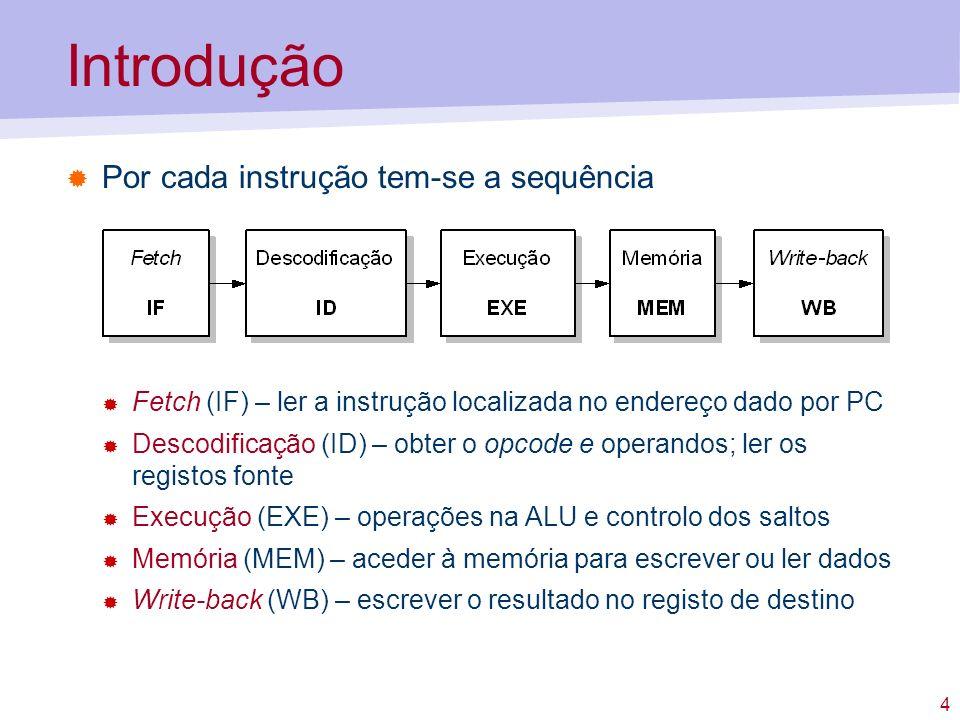 4 Por cada instrução tem-se a sequência Introdução Fetch (IF) – ler a instrução localizada no endereço dado por PC Descodificação (ID) – obter o opcod