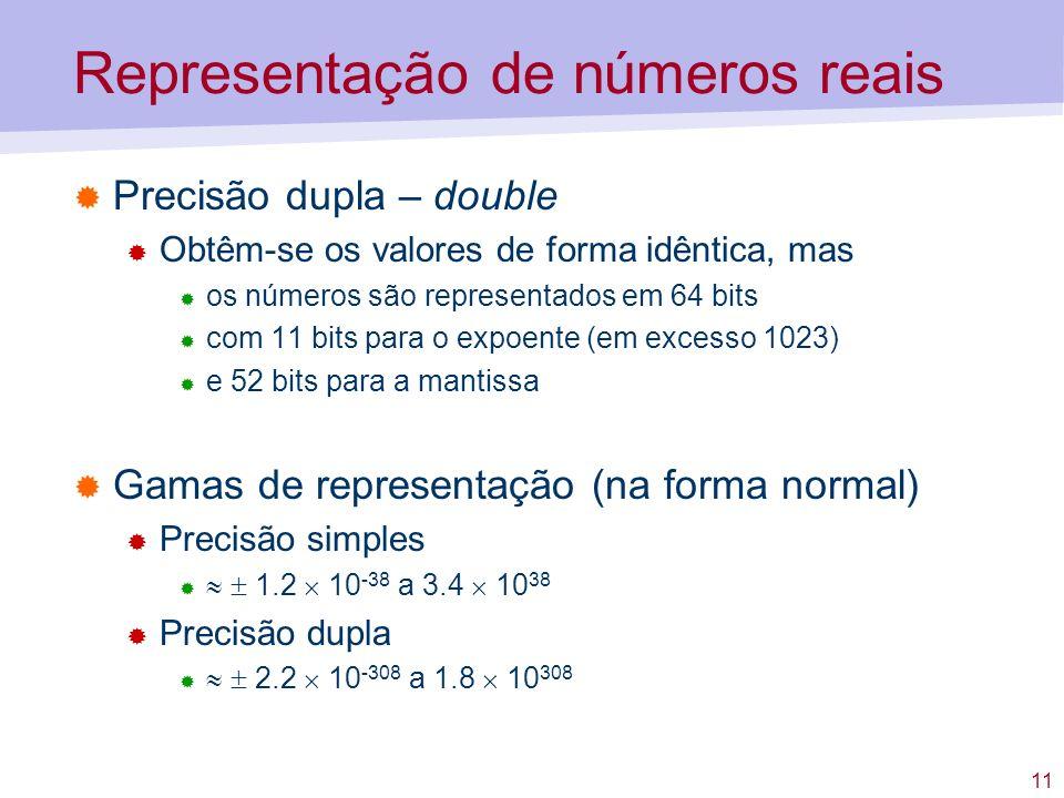 11 Representação de números reais Precisão dupla – double Obtêm-se os valores de forma idêntica, mas os números são representados em 64 bits com 11 bi