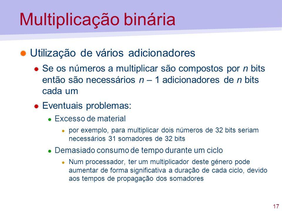 17 Multiplicação binária Utilização de vários adicionadores Se os números a multiplicar são compostos por n bits então são necessários n – 1 adicionad