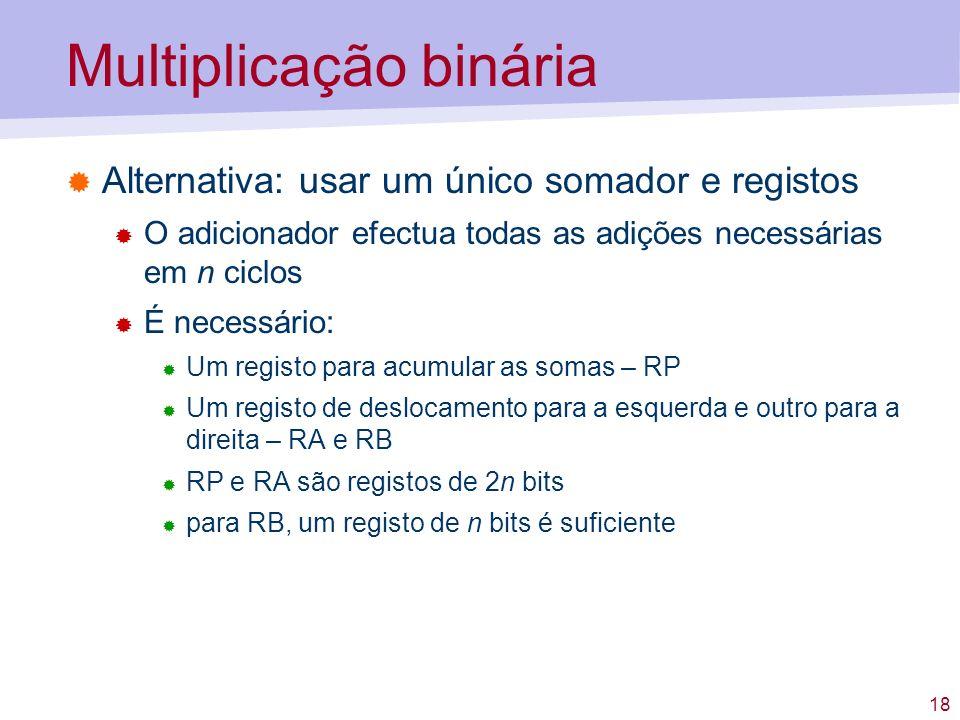 18 Multiplicação binária Alternativa: usar um único somador e registos O adicionador efectua todas as adições necessárias em n ciclos É necessário: Um