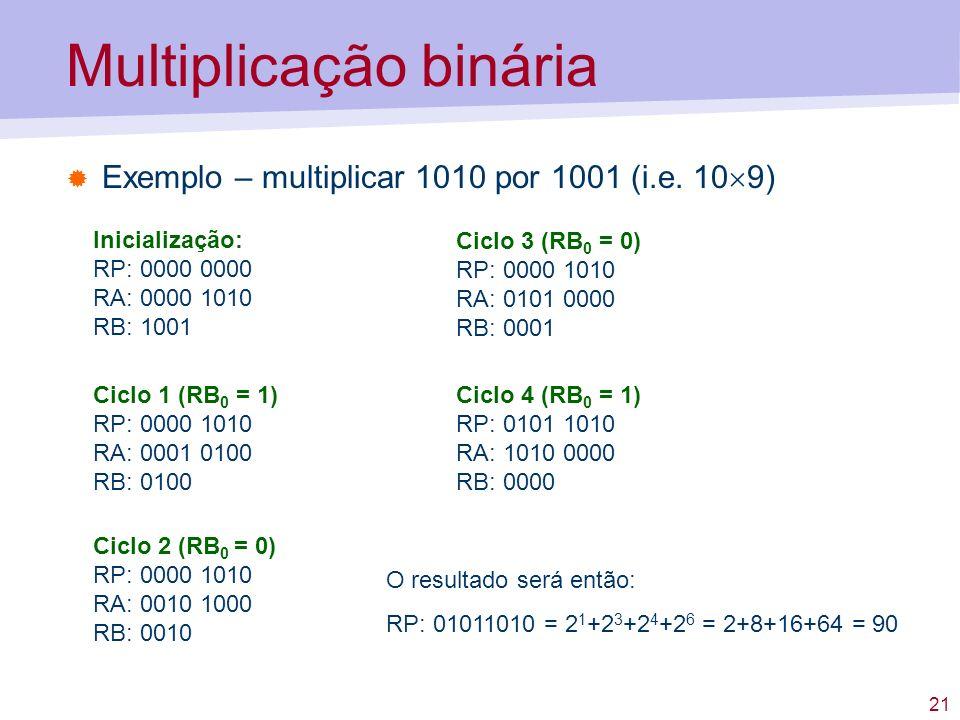 21 Multiplicação binária Exemplo – multiplicar 1010 por 1001 (i.e. 10 9) Inicialização: RP: 0000 0000 RA: 0000 1010 RB: 1001 Ciclo 1 (RB 0 = 1) RP: 00