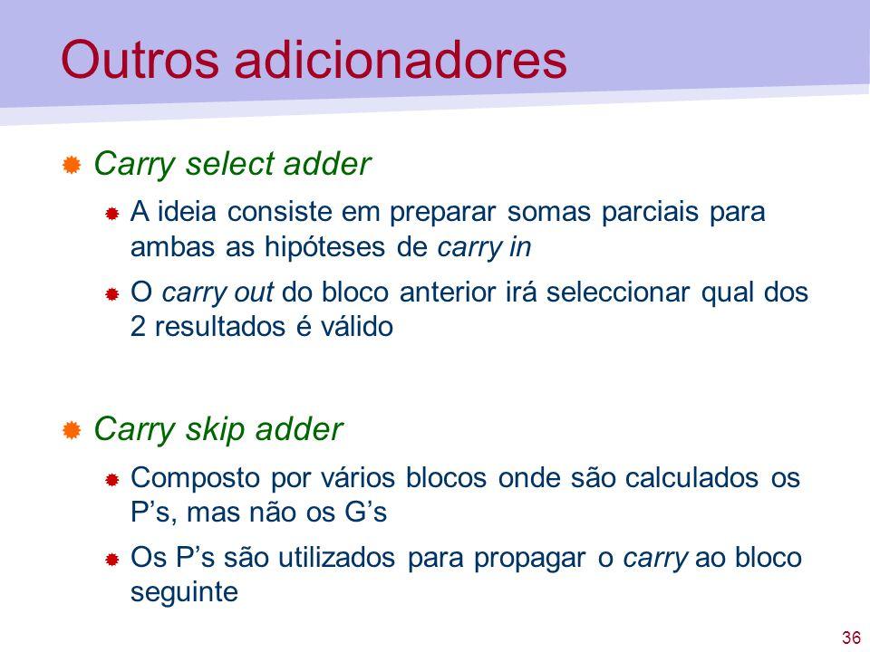 36 Outros adicionadores Carry select adder A ideia consiste em preparar somas parciais para ambas as hipóteses de carry in O carry out do bloco anteri