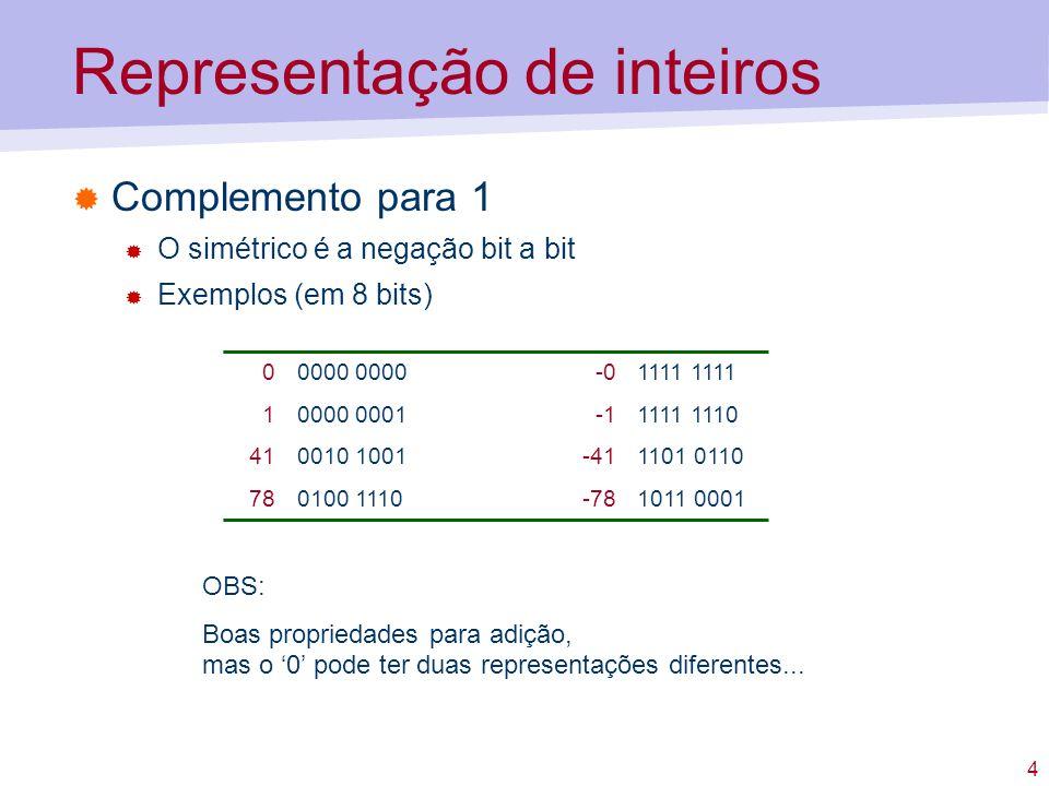 5 Representação de inteiros Excesso m Representa-se o valor do número acrescido de m O menor número vale –m e é representado por 0s Exemplo: excesso 128 (8 bits) 01000 0000-01000 0000 11000 00010111 1111 411010 1001-410101 0111 781100 1110-780011 0010 OBS: Quando m=2 n-1 fica semelhante ao complemento para 2, mas com o bit de sinal trocado