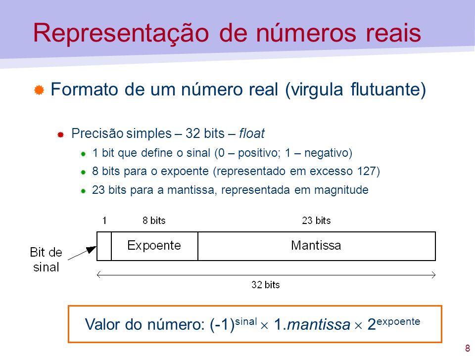 8 Representação de números reais Formato de um número real (virgula flutuante) Precisão simples – 32 bits – float 1 bit que define o sinal (0 – positi
