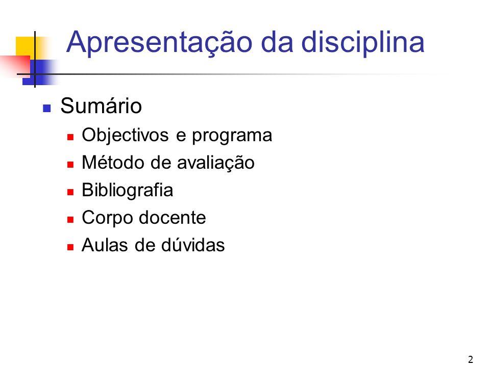 2 Apresentação da disciplina Sumário Objectivos e programa Método de avaliação Bibliografia Corpo docente Aulas de dúvidas