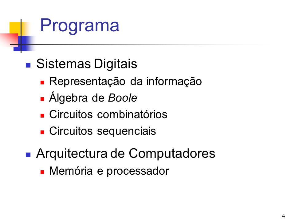 4 Programa Sistemas Digitais Representação da informação Álgebra de Boole Circuitos combinatórios Circuitos sequenciais Arquitectura de Computadores M