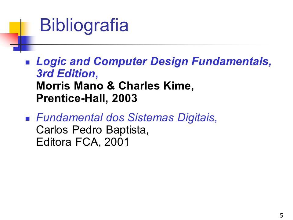 5 Bibliografia Logic and Computer Design Fundamentals, 3rd Edition, Morris Mano & Charles Kime, Prentice-Hall, 2003 Fundamental dos Sistemas Digitais,