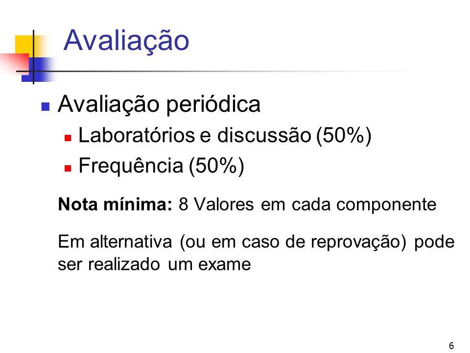 6 Avaliação Avaliação periódica Laboratórios e discussão (50%) Frequência (50%) Nota mínima: 8 Valores em cada componente Em alternativa (ou em caso d