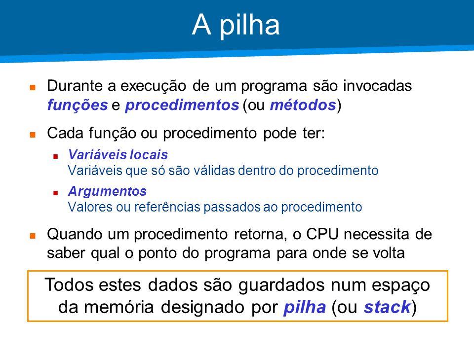 Academia ISCTE – Arquitectura de Computadores Programação MAC-1 jump main n: 10 # exemplo main: lodd n push call soma_n # soma_n(10) insp 1 halt # soma_n(int n) soma_n: loco 0 push # int soma=0 loco 1 push # int i=1 ciclo: lodl 3 subl 0 # n-i jneg ret # while n-i>=0 lodl 1 addl 0 stol 1 # soma=soma+i loco 1 addl 0 stol 0 # i=i+1 jump ciclo ret: lodl 1 # AC=soma insp 2 retn n end.