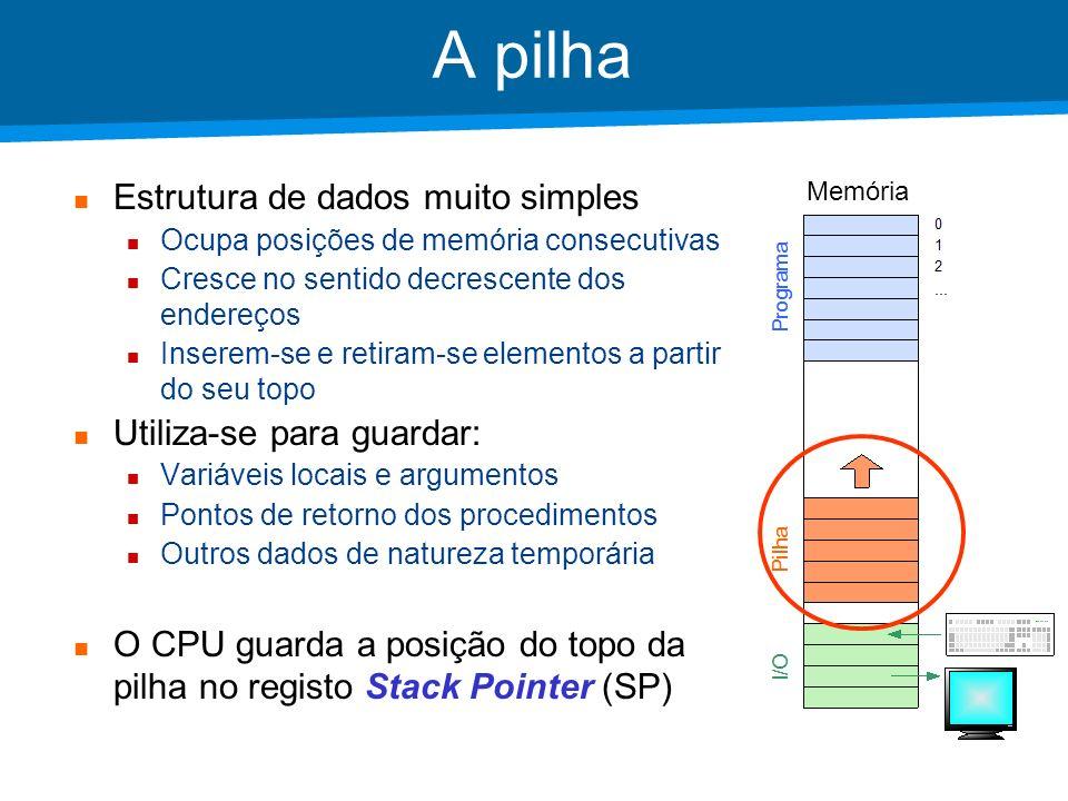 Academia ISCTE – Arquitectura de Computadores Assembly MAC-1 Invocação e retorno de procedimentos Instrução call – invocar Instrução retn – retornar MnemónicaDescriçãoSignificado call xSP SP – 1; M[SP] PC; PC xCall function or procedure retnPC M[SP]; SP SP + 1Return x é um endereço entre 0 e 4095, ou uma label que represente esse endereço.