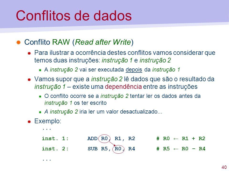 40 Conflitos de dados Conflito RAW (Read after Write) Para ilustrar a ocorrência destes conflitos vamos considerar que temos duas instruções: instruçã