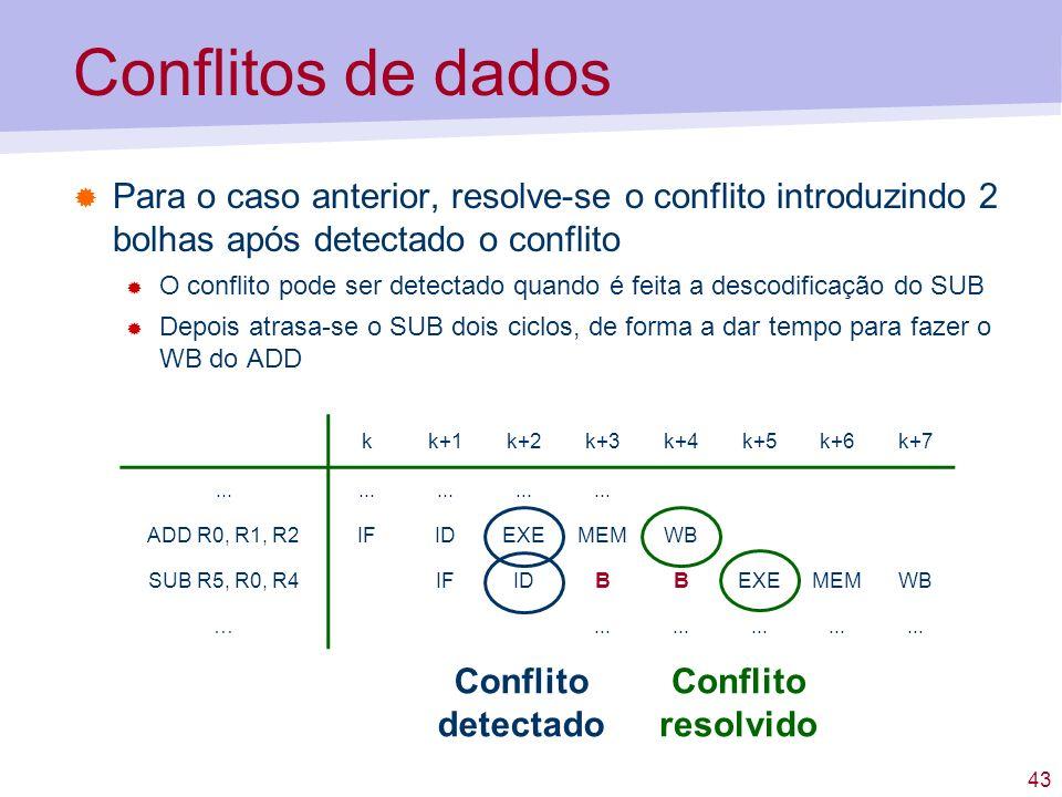 43 Conflitos de dados Para o caso anterior, resolve-se o conflito introduzindo 2 bolhas após detectado o conflito O conflito pode ser detectado quando