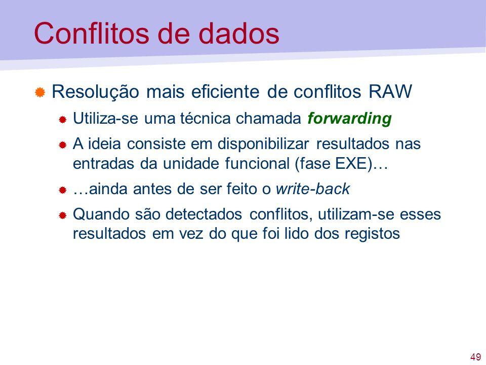 49 Conflitos de dados Resolução mais eficiente de conflitos RAW Utiliza-se uma técnica chamada forwarding A ideia consiste em disponibilizar resultado