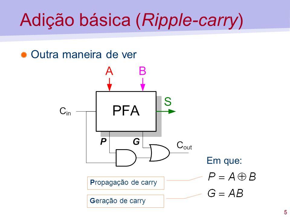5 Adição básica (Ripple-carry) Outra maneira de ver Em que: Propagação de carry Geração de carry