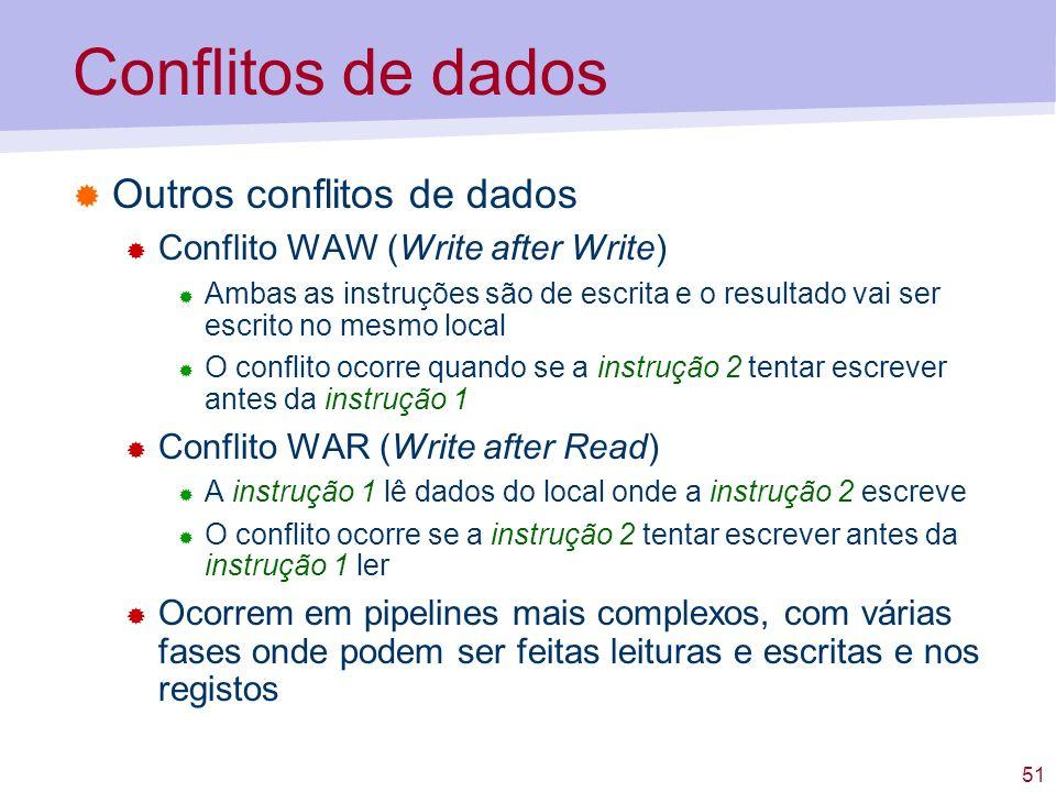 51 Conflitos de dados Outros conflitos de dados Conflito WAW (Write after Write) Ambas as instruções são de escrita e o resultado vai ser escrito no m