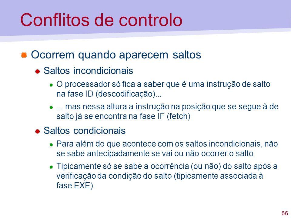 56 Conflitos de controlo Ocorrem quando aparecem saltos Saltos incondicionais O processador só fica a saber que é uma instrução de salto na fase ID (d