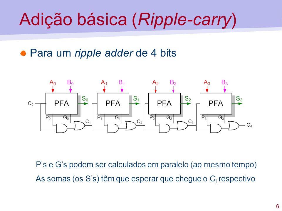 6 Adição básica (Ripple-carry) Para um ripple adder de 4 bits Ps e Gs podem ser calculados em paralelo (ao mesmo tempo) As somas (os Ss) têm que esper