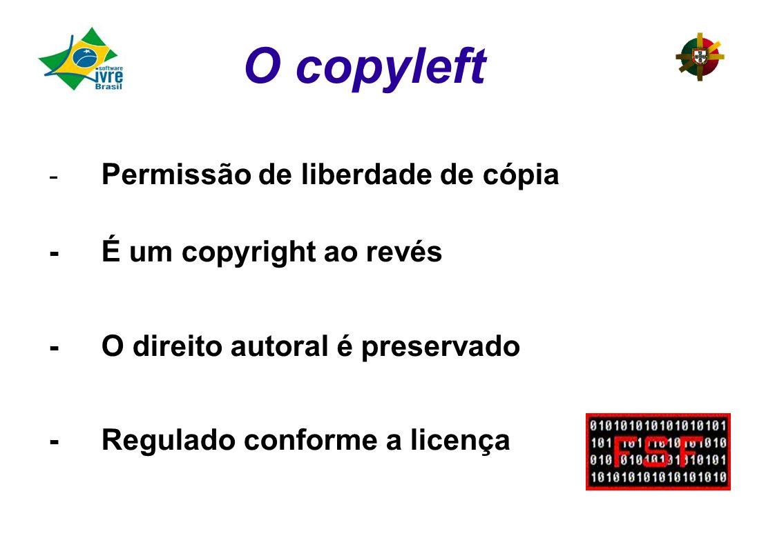 O copyleft - Permissão de liberdade de cópia -É um copyright ao revés -O direito autoral é preservado -Regulado conforme a licença