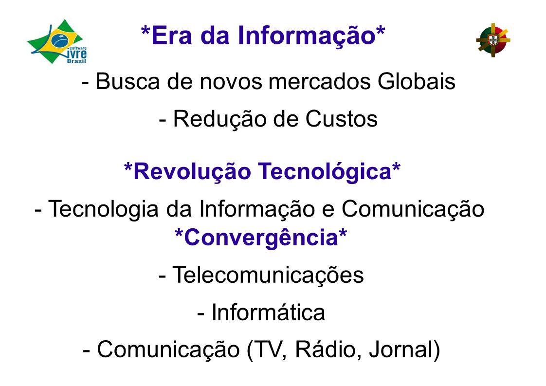 - Busca de novos mercados Globais - Redução de Custos *Revolução Tecnológica* - Tecnologia da Informação e Comunicação *Convergência* - Telecomunicações - Informática - Comunicação (TV, Rádio, Jornal) *Era da Informação*