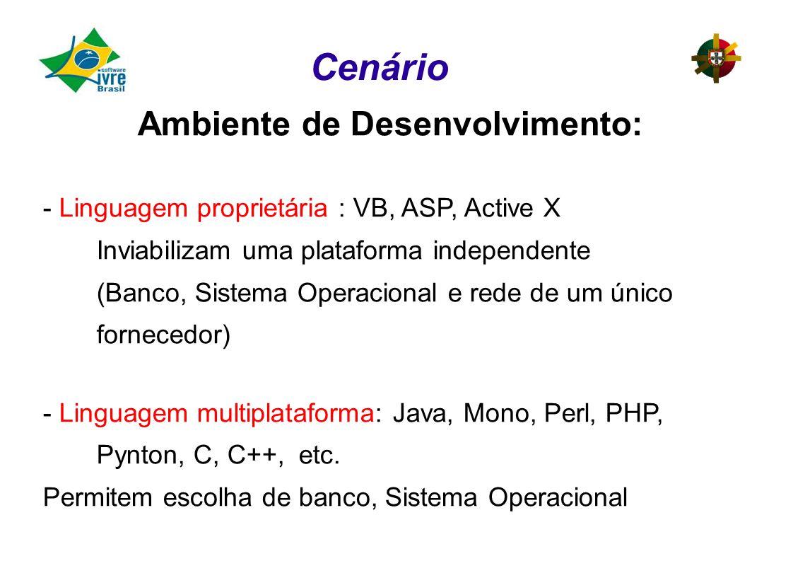 Ambiente de Desenvolvimento: - Linguagem proprietária : VB, ASP, Active X Inviabilizam uma plataforma independente (Banco, Sistema Operacional e rede de um único fornecedor) - Linguagem multiplataforma: Java, Mono, Perl, PHP, Pynton, C, C++, etc.