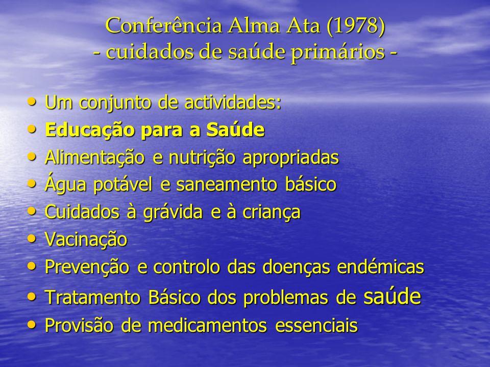 Conferência Alma Ata (1978) - cuidados de saúde primários - Um conjunto de actividades: Um conjunto de actividades: Educação para a Saúde Educação par