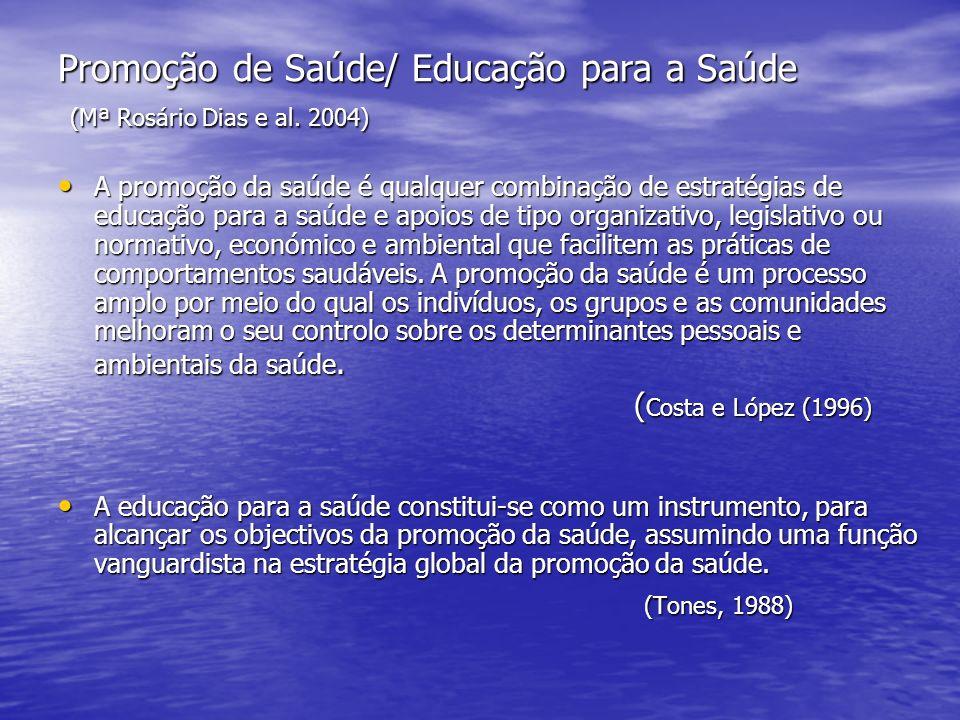 Promoção de Saúde/ Educação para a Saúde (Mª Rosário Dias e al. 2004) A promoção da saúde é qualquer combinação de estratégias de educação para a saúd
