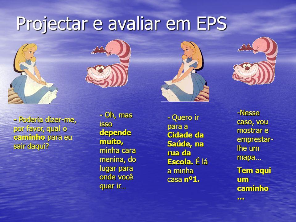 Projectar e avaliar em EPS - Poderia dizer-me, por favor, qual o caminho para eu sair daqui? - Oh, mas isso depende muito, minha cara menina, do lugar