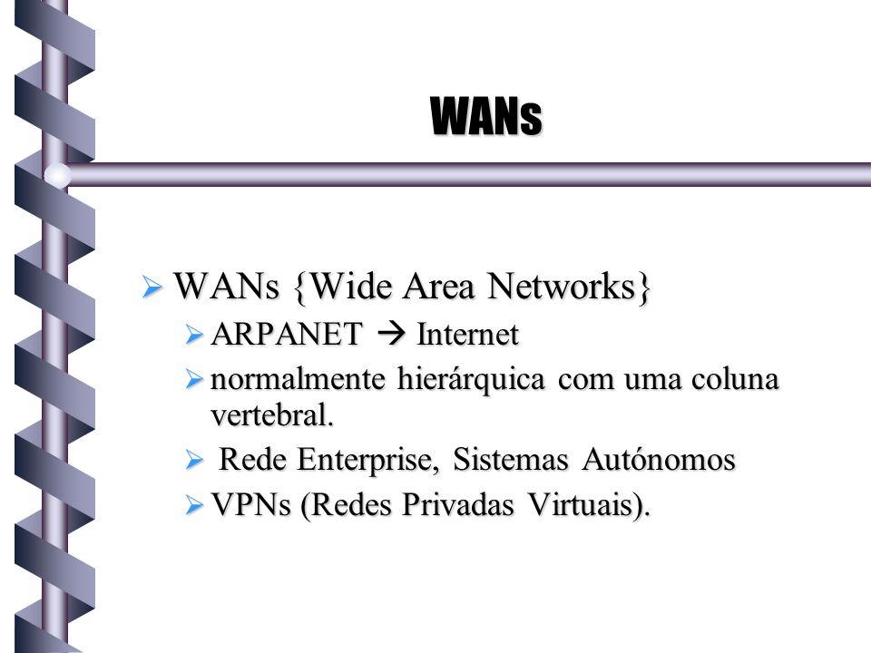 WANs WANs {Wide Area Networks} WANs {Wide Area Networks} ARPANET Internet ARPANET Internet normalmente hierárquica com uma coluna vertebral. normalmen