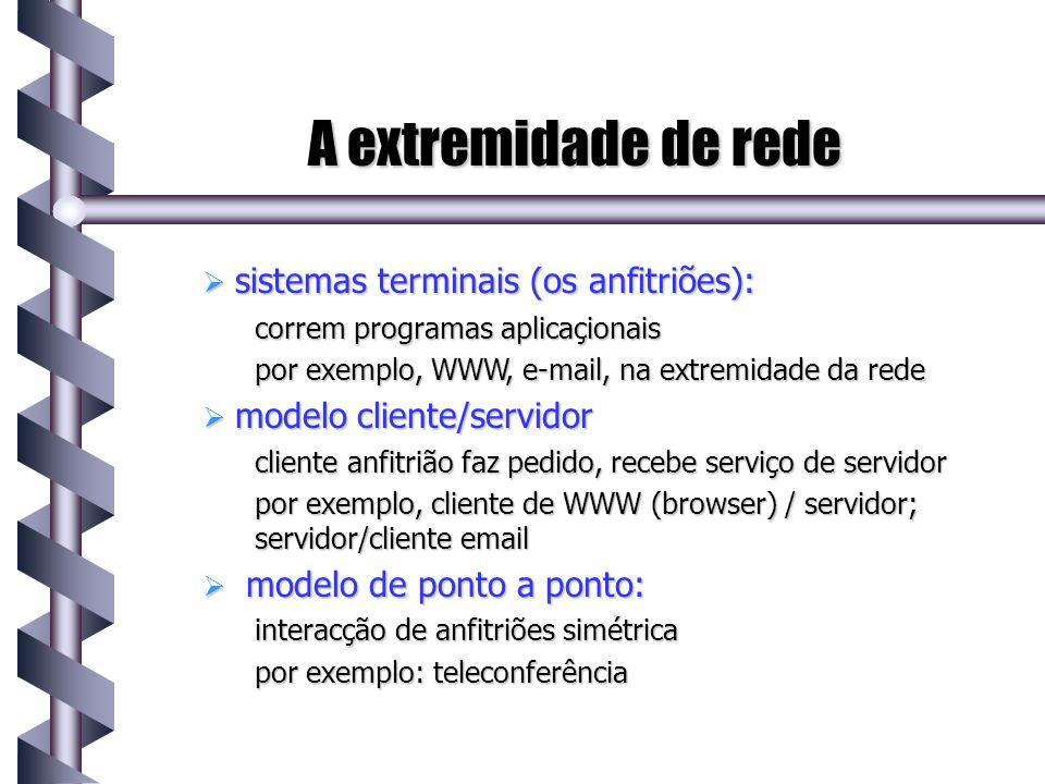 A extremidade de rede sistemas terminais (os anfitriões): sistemas terminais (os anfitriões): correm programas aplicaçionais por exemplo, WWW, e-mail,