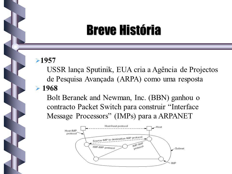 Breve História 1957 USSR lança Sputinik, EUA cria a Agência de Projectos de Pesquisa Avançada (ARPA) como uma resposta 1968 Bolt Beranek and Newman, I