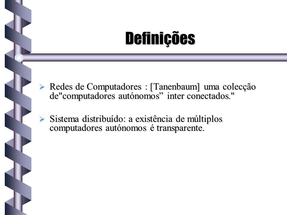 Definições Redes de Computadores : [Tanenbaum] uma colecção de